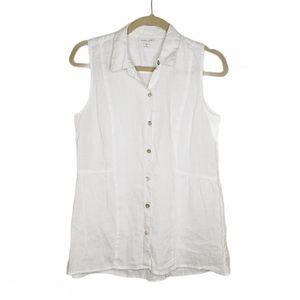 J Jill Linen Sleeveless Button-up White Top SP